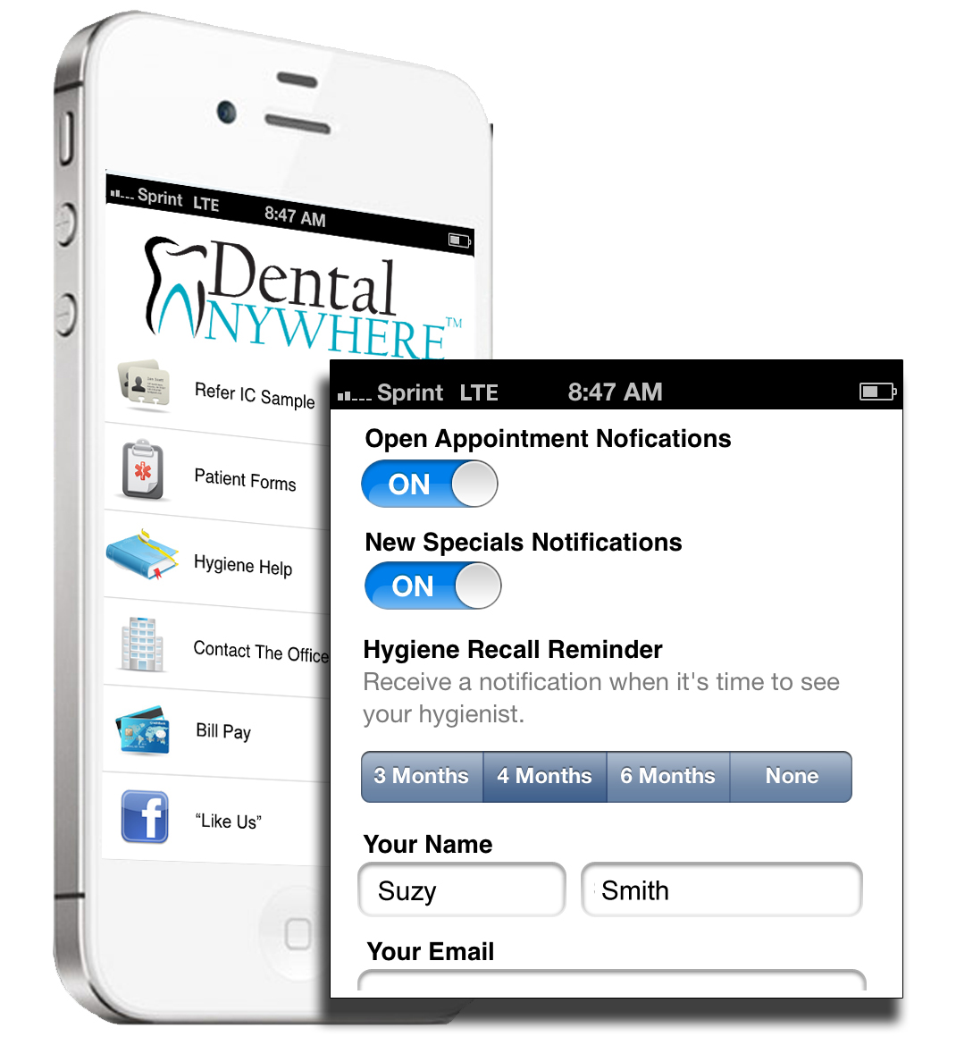 Dental Anywhere Mobile Apps Hygiene Recall Feature