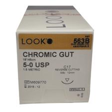 LOOK Chromic Gut Sutures - Absorbable, C17, Reverse Cutting, 3/:8 Circle, 12/:Box - Needle Size 5-0, length 18