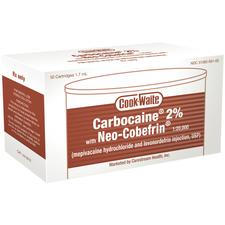 Cook-Waite Carbocaine 2% Injection Cartridges (1.8 ml) with Neo-Cobefrin, 50/:Box