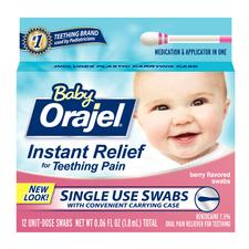 Baby Orajel® Teething Pain Relief Swabs- Berry Flavor, 12/:Box, 6 Boxes/:Pkg
