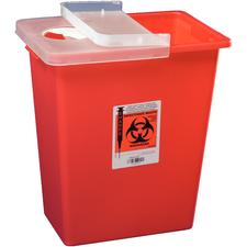SharpSafety large Volume Sharps Containers- 8 Gallon, Red, Hinged Lid