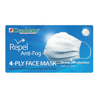 Repel 4-Ply Anti-Fog Face Masks