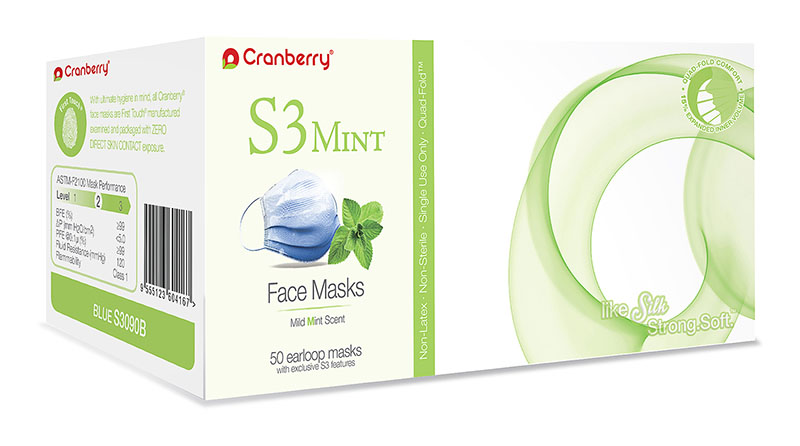 Cranberry S3 Mint Earloop Face Masks, 50/:Box