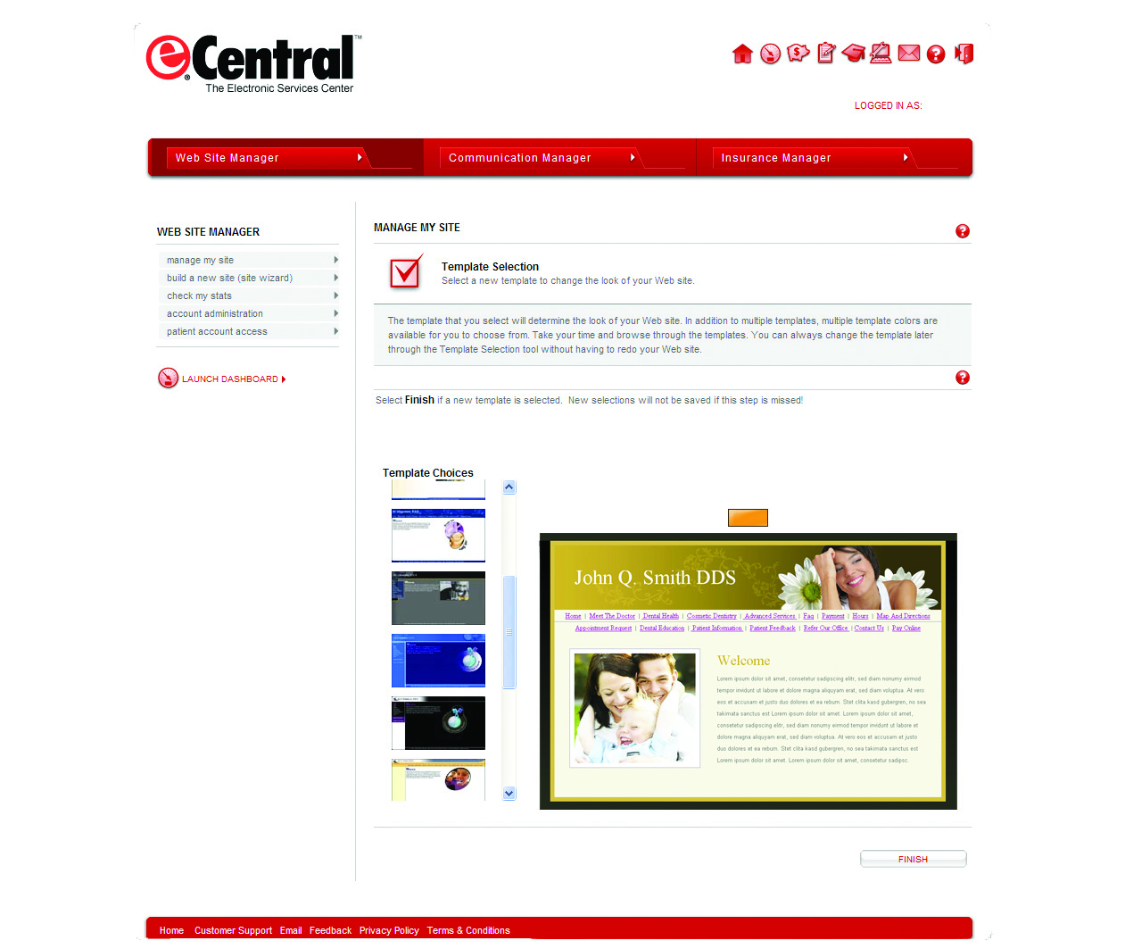 eCentral Integrated Practice Web Site