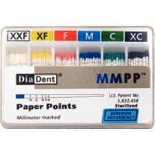 Millimeter Marked Absorbent Paper Points Spill-Proof Box, Auxiliary Size, Color Coded, 200/:Pkg