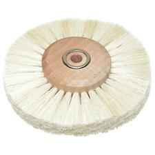 White Bristle Wheel Brush on Wood Hub