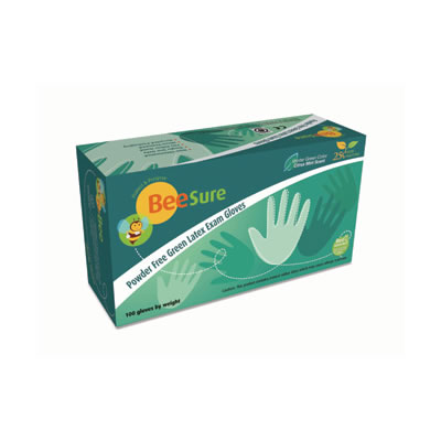 BeeSure Powder Free Green Latex Exam Gloves