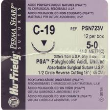 Perma Sharp® Polyglycolic Acid (PGA) Undyed Sutures- Absorbable, C-19, Reverse Cutting, Size 5-0, Length 18