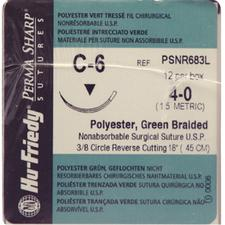 Perma Sharp® Polyester Green Braided Sutures- Nonabsorbable, C-6, 3/:8 Circle Reverse Cutting, Size 4-0, Length 18