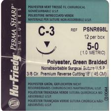 Perma Sharp® Polyester Green Braided Sutures- Nonabsorbable, C-3, 3/:8 Circle Premium Reverse Cutting, Size 5-0, Length 18