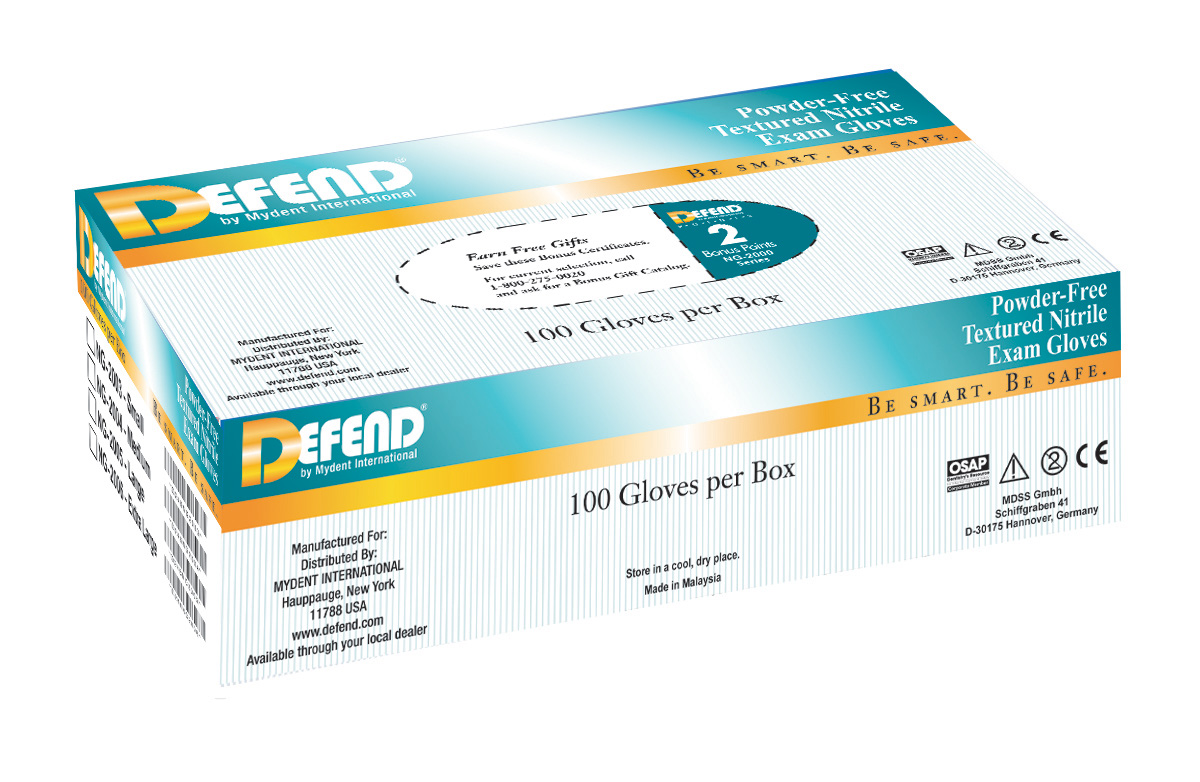 DEFEND Powder Free Nitrile Textured Exam Gloves