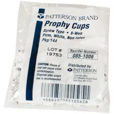 Patterson Prophy Cups - 6-Webbed, White, Latex Free, 144/:Pkg - Knob Type