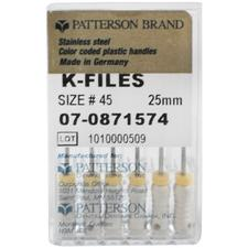 Patterson K-Files - Stainless Steel, 0.02 Taper, 25 mm Length, Color Coded Plastic Handle, 6/:Pkg - Assorted Colors Sizes 15-40