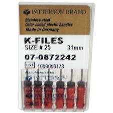 Patterson K-Files - Stainless Steel, 0.02 Taper, 31 mm Length, Color Coded Plastic Handle, 6/:Pkg - Assorted Colors Sizes 45-80
