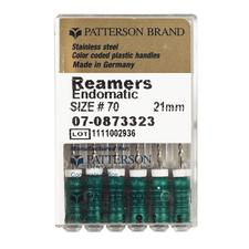 Patterson Reamers - 21 mm Length, Stainless Steel, Color-Coded Plastic Handles, 0.02 Taper - Assorted #15-40