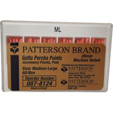Patterson Gutta Percha Points - Auxiliary Sizes, 60/:Pkg - Extra Large