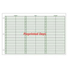 Jumbo Preprinted Days Week-in-View Appointment Sheets, 15-Minute Intervals, 8 a.m.- 10 p.m., 100/:Pkg - 2 Columns