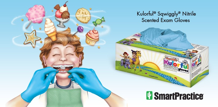Kulorful Sqwiggly Scented Nitrile Exam Gloves