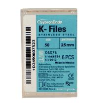 K-Files - 25 mm, Stainless Steel, Color Coded Plastic Handle, 6/:Pkg - Assorted Handle Colors, Sizes 15-40