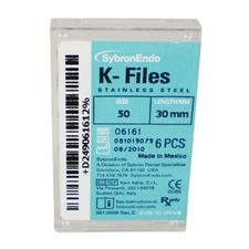 K-Files - 30 mm, Stainless Steel, Color Coded Plastic Handle, 6/:Pkg