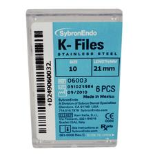K-Files - 21 mm, Stainless Steel, Color Coded Plastic Handle, 6/:Pkg - Assorted Handle Colors, Sizes 45-80