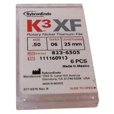 K3 XF Ni-Ti Files - 25 mm, 6/:Pkg - 0.15/:0.04
