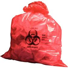 Bio-Hazard Infectious Waste Bags 17 Microns, Red, 250/:Pkg